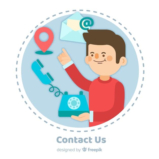 Contactez-nous design plat de fond Vecteur gratuit