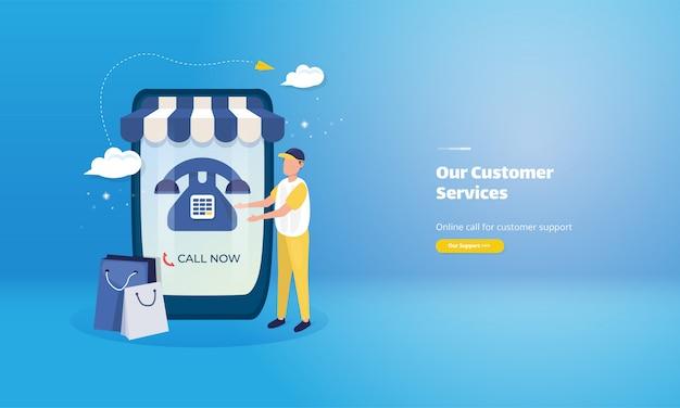 Contactez-nous Page Web D'illustration Pour Le Service Client De La Boutique En Ligne Vecteur Premium