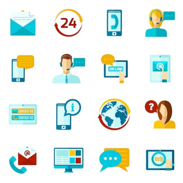 Contactez-nous set d'icônes Vecteur gratuit