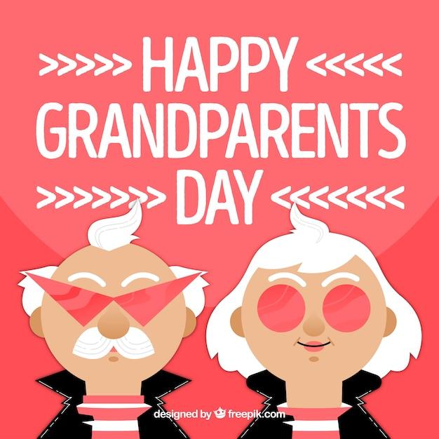 Conte d'anniversaire des grands parents avec des personnages rockers Vecteur gratuit