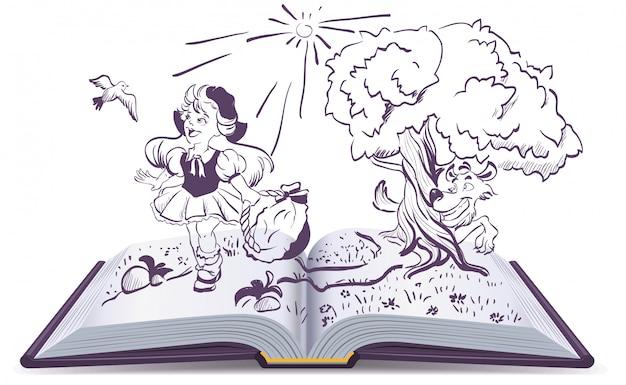 Conte Du Petit Chaperon Rouge Et Du Loup Gris. Livre Ouvert Fantaisie Vecteur Premium