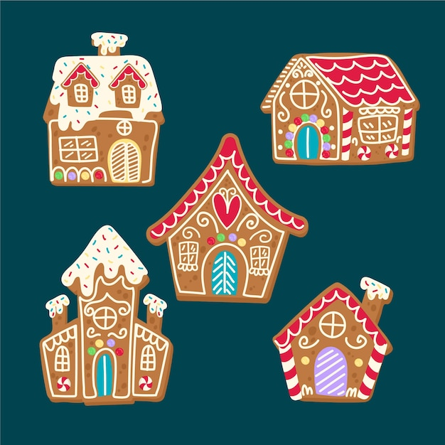 Conte de noël pour enfants avec maison en pain d'épice Vecteur gratuit