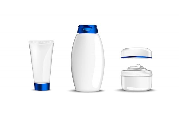 Contenants Cosmétiques De Beauté Blanche Avec Tasse Bleue Pour Gel De Shampooing Crème Vecteur Premium