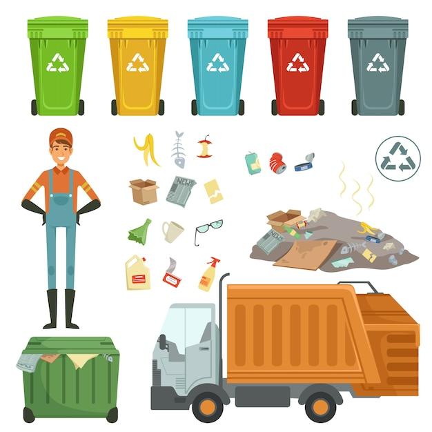 Contenants en plastique pour différents déchets. illustration vectorielle de ramasse-ordures et éboueur Vecteur Premium