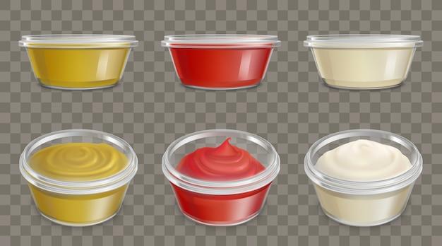 Contenants En Plastique Pour Sauces Set Vector Réaliste Vecteur gratuit