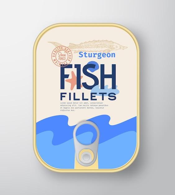 Conteneur En Aluminium Pour Filets De Poisson Avec Couvercle D'étiquette Vecteur gratuit