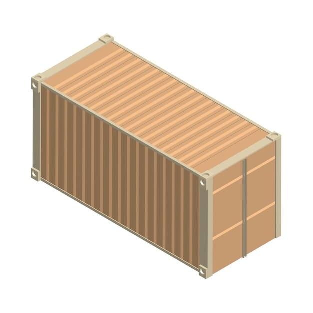 Conteneur carré en métal isolé sur fond Vecteur gratuit