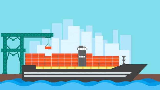 Conteneur de navire de charge. logistique de transport océanique. livraison par transport maritime Vecteur Premium
