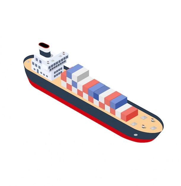 Conteneur de navire isométrique Vecteur Premium