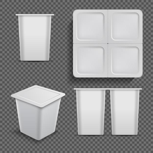 Conteneur vide blanc. emballage de dessert et yaourt glacé isolé Vecteur Premium