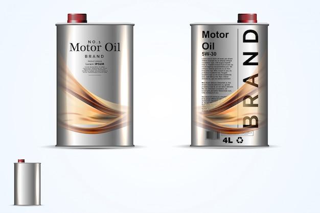 Conteneurs en métal réalistes pour l'huile de moteur Vecteur Premium