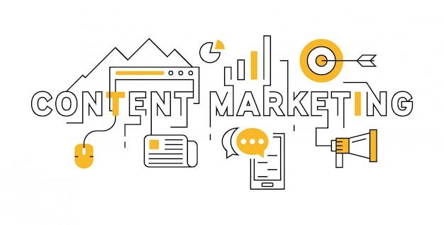 Contenu de marketing de ligne plate design in orange Vecteur Premium