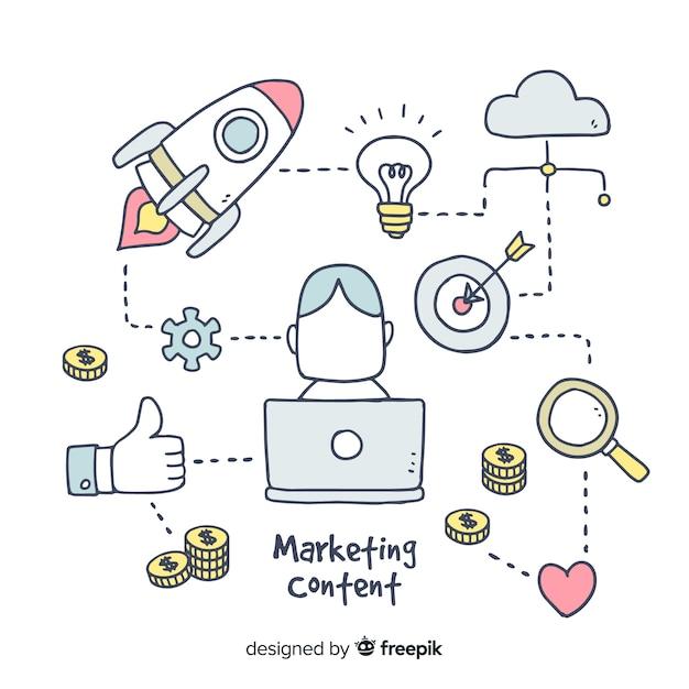 Contenus marketing fond dessiné à la main Vecteur gratuit