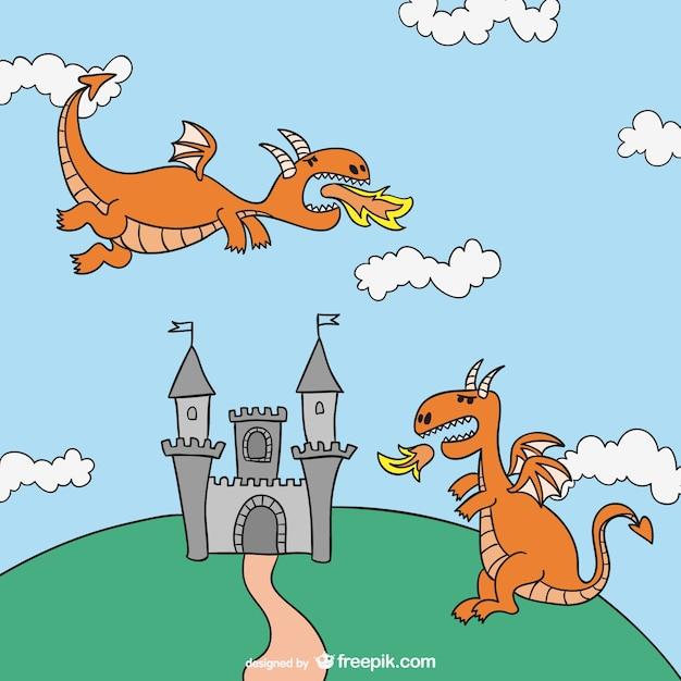 Illustration Conte De Fée contes de fées dragons dessin animé | télécharger des vecteurs