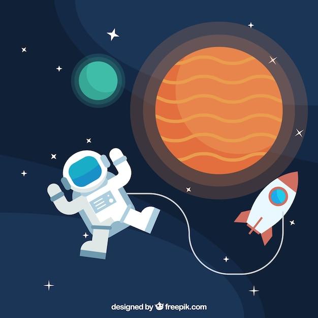 Contexte d'astronautes avec planètes et fusées Vecteur gratuit