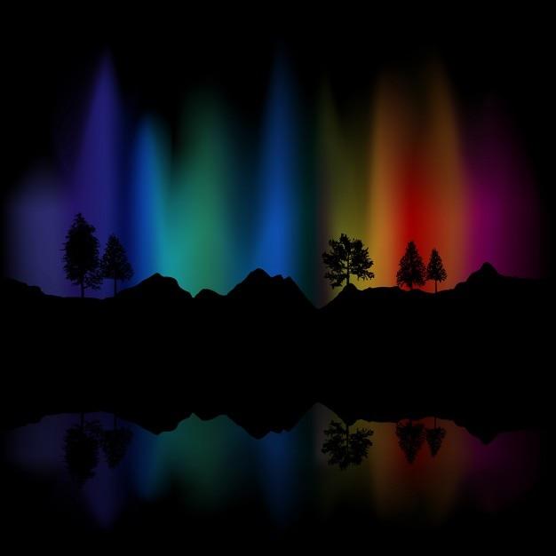Contexte de aurores boréales dans le ciel reflète dans le lac Vecteur gratuit