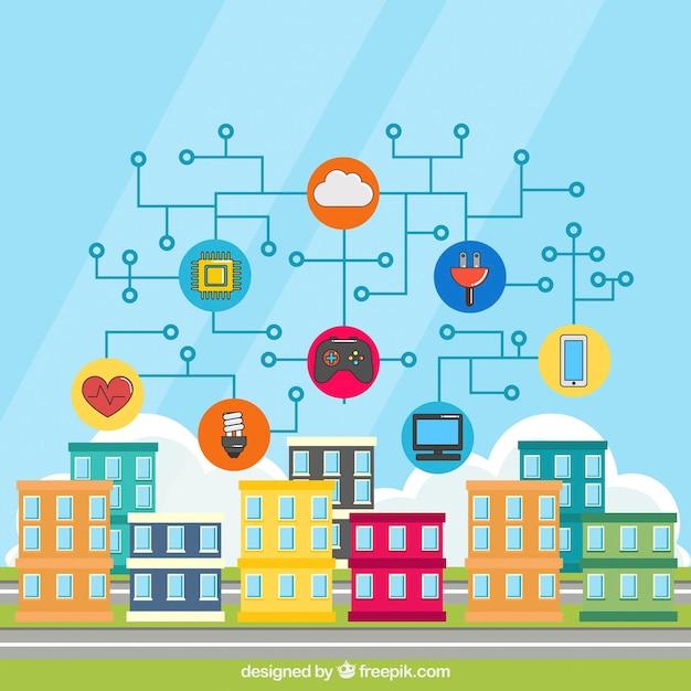 Contexte de bâtiments colorés avec des objets connectés à internet Vecteur gratuit