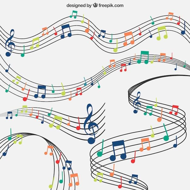 Contexte De Bâtons Avec Des Notes Musicales Colorées Vecteur Premium