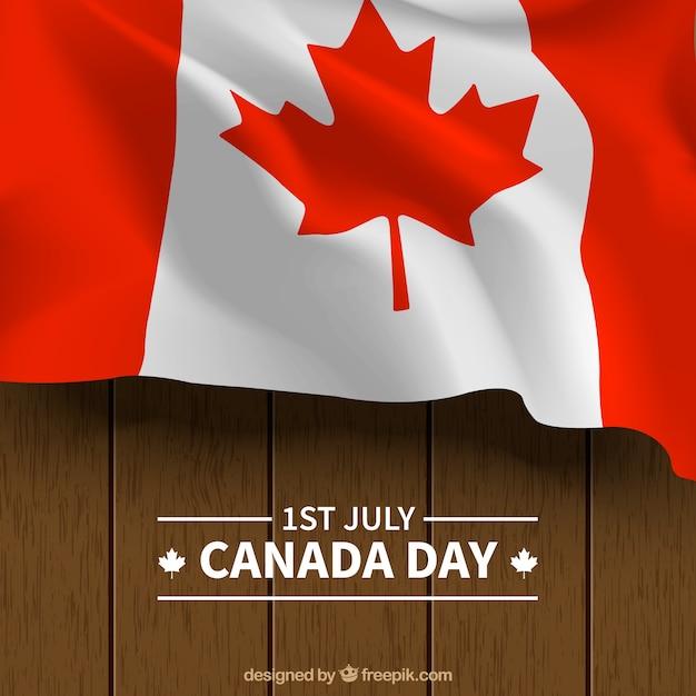 Contexte en bois avec le drapeau du canada Vecteur gratuit