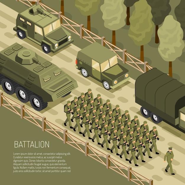 Contexte De La Campagne Militaire Isométrique Vecteur gratuit
