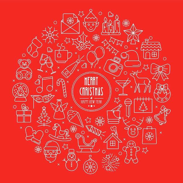 Contexte De Célébration Des Icônes De Contour De Noël Et Du Nouvel An Disposées En Cercle Vecteur Premium