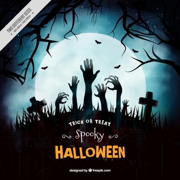 Contexte de cimetière sombre avec les mains de zombies Vecteur gratuit