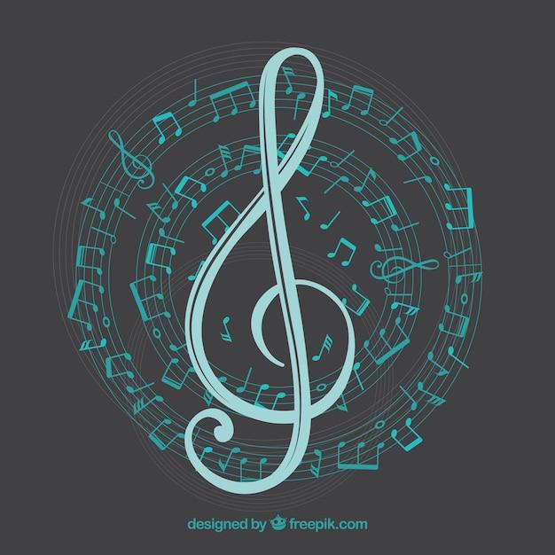 Contexte avec clef triple et notes de musique en spirale Vecteur gratuit