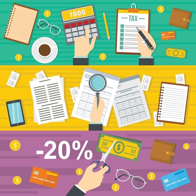 Contexte comptable des taxes Vecteur Premium