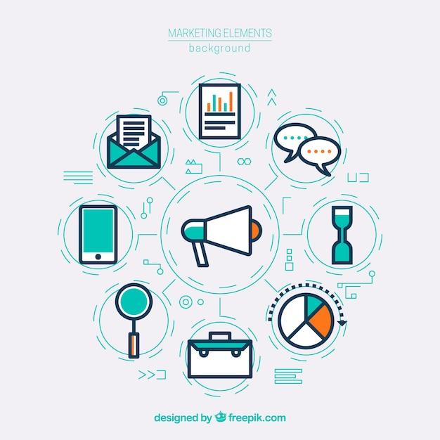Contexte créatif des éléments de marketing Vecteur gratuit