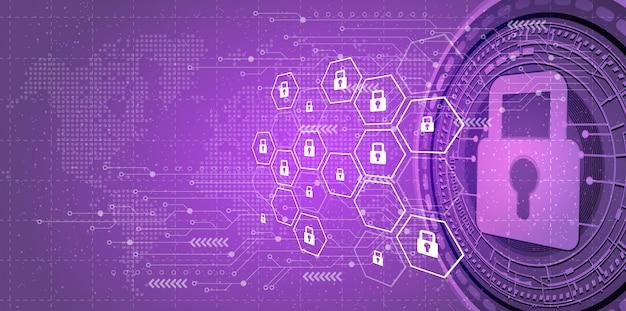Contexte de la cybersécurité et de la protection du réseau. Vecteur Premium