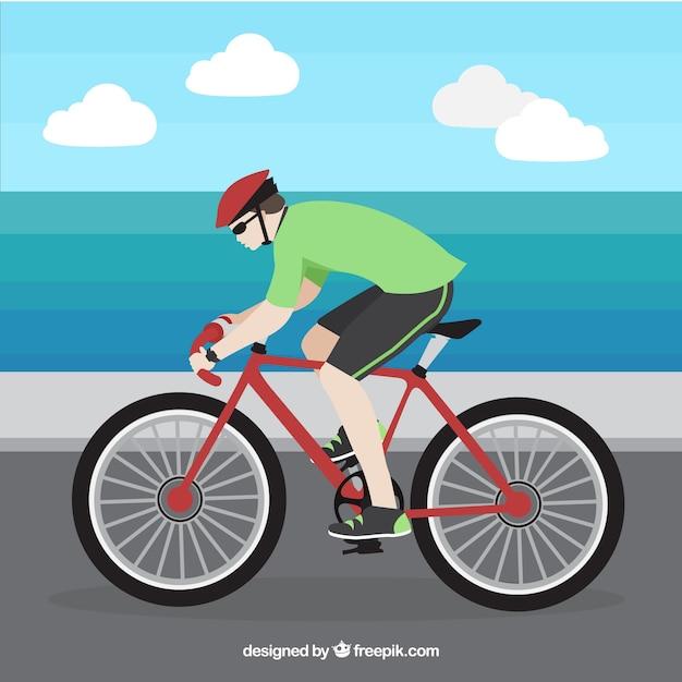 Contexte cycliste en conception plate Vecteur gratuit