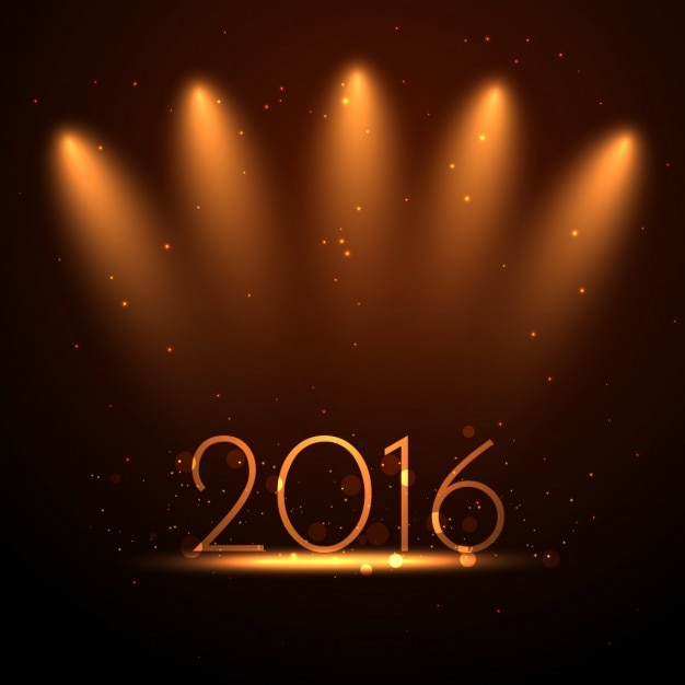 Contexte de l'année 2016 avec des lumières d'or Vecteur gratuit