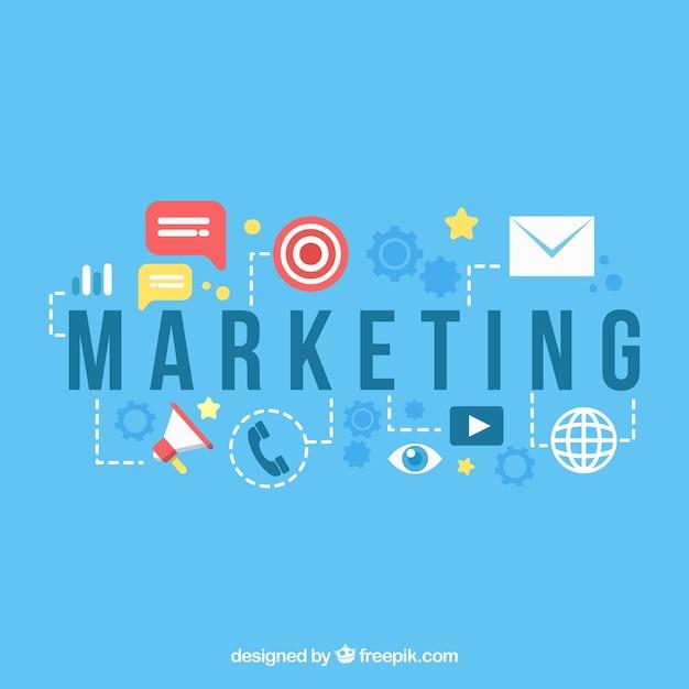 Contexte de marketing dans le style plat Vecteur gratuit