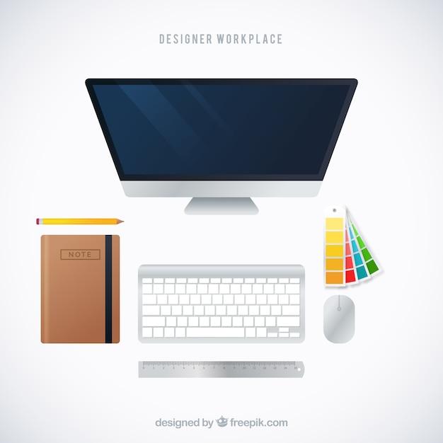 Contexte de travail de conception graphique avec vue de dessus Vecteur gratuit