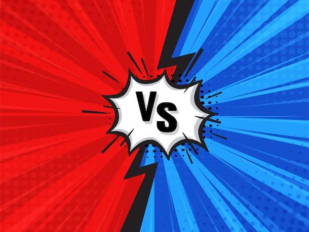 Contexte de dessin animé de combat comique. rouge vs bleu. Vecteur Premium