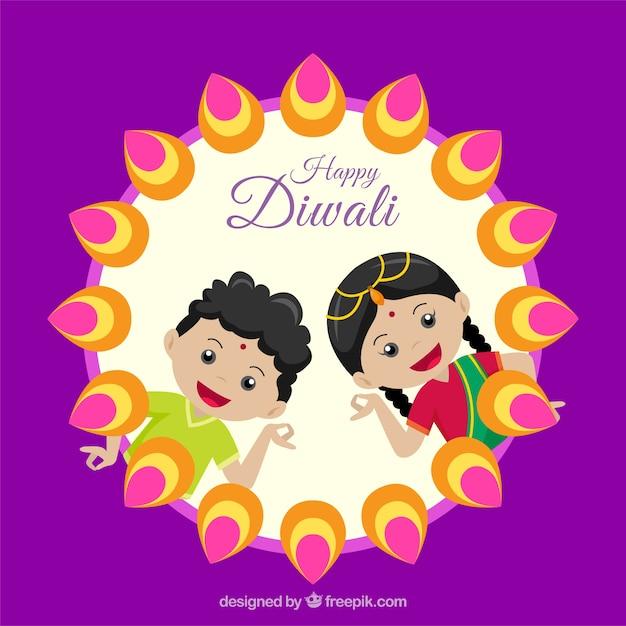 Contexte de diwali avec salutation des enfants Vecteur gratuit