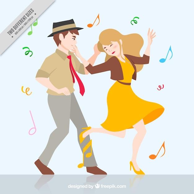 Contexte de drôle couple qui danse Vecteur gratuit