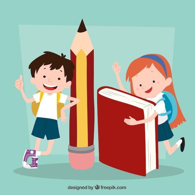 Contexte drôle des enfants avec fournitures scolaires Vecteur gratuit