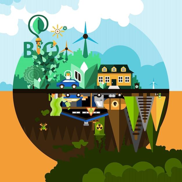 Contexte du concept de pollution Vecteur gratuit