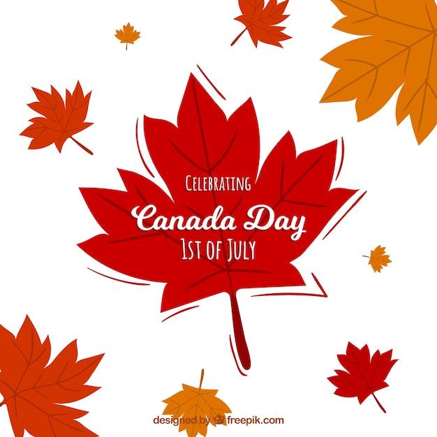 Contexte Du Jour Du Canada Avec Les Feuilles D'automne Vecteur gratuit
