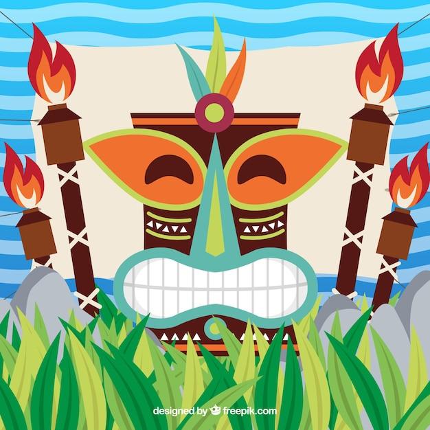 Contexte du masque tiki heureux avec des torches dans un design plat Vecteur gratuit