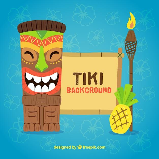 Contexte du masque tiki avec torche et ananas en forme plate Vecteur gratuit