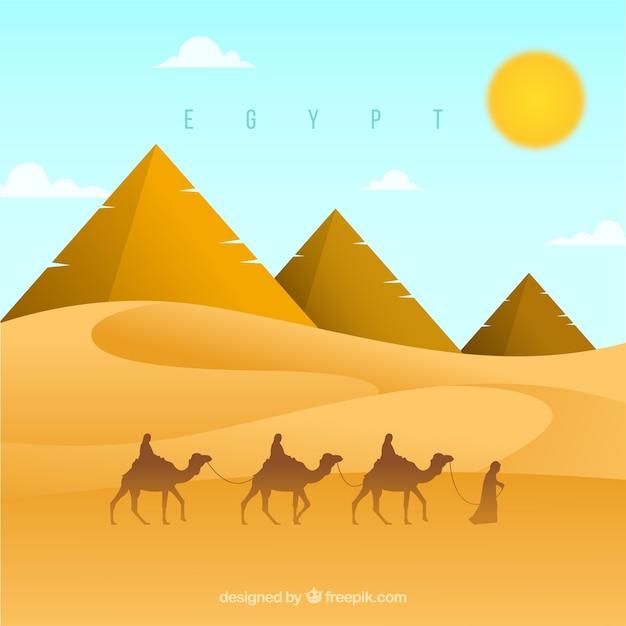 Contexte du paysage des pyramides d'egypte avec la caravane de chameaux Vecteur gratuit