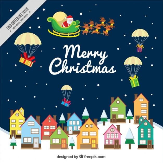Contexte du Père Noël donne des cadeaux Vecteur gratuit