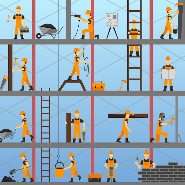 Contexte du processus de construction Vecteur gratuit