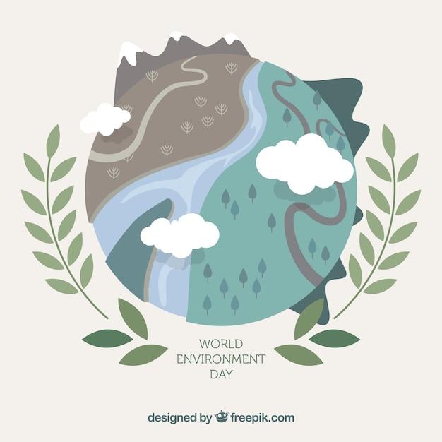 Contexte De L'environnement Mondial Avec Différents Paysages Vecteur gratuit