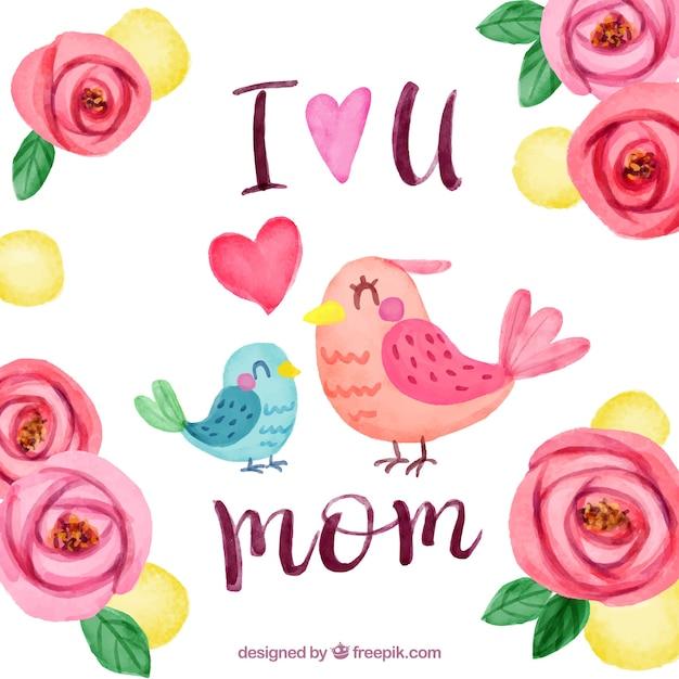 Contexte floral avec les oiseaux pour le jour de la mère Vecteur gratuit