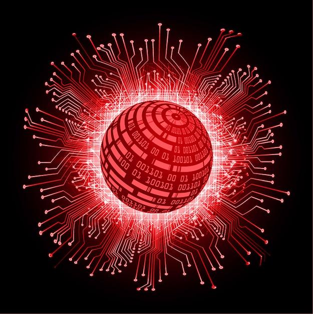 Contexte de la future technologie du monde cyber circuit rouge Vecteur Premium