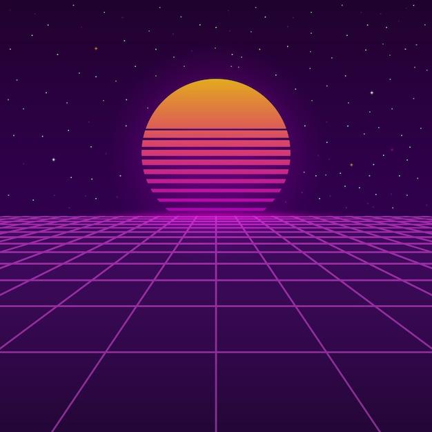 Contexte futuriste des années 80. Vecteur Premium