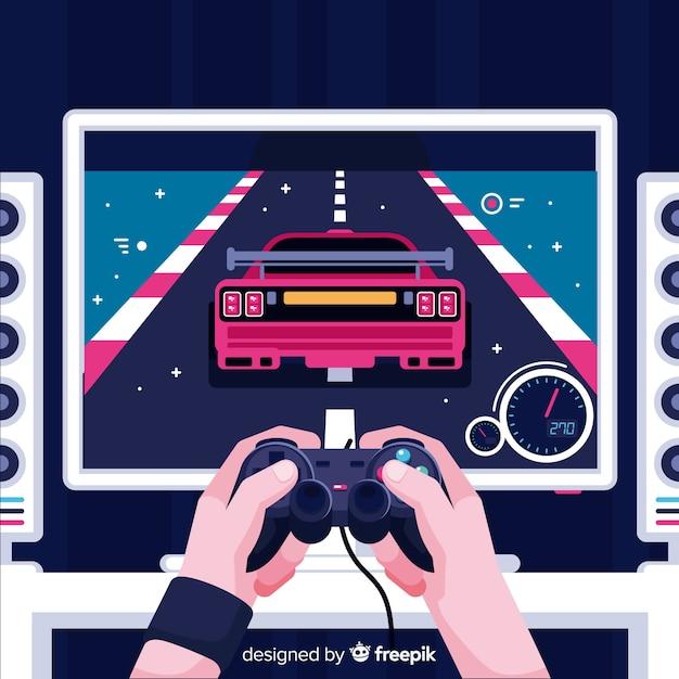 Contexte futuriste d'un joueur de l'ordinateur Vecteur gratuit